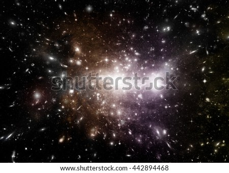 """Stars of a planet and galaxy in a free space. """"Elements of this image furnished by NASA"""". - stock photo"""