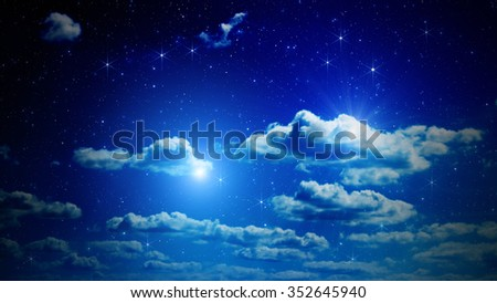 Stars on a dark sky with some clouds. My astronomy work. No elements of NASA or other third party. - stock photo
