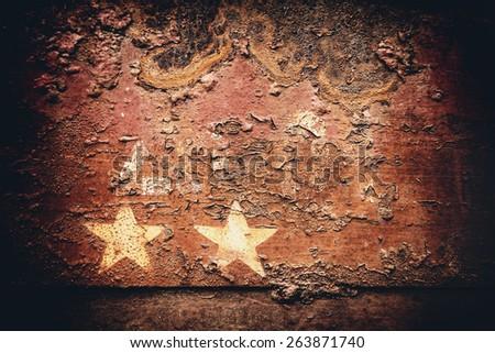 Stars on rusty iron - stock photo