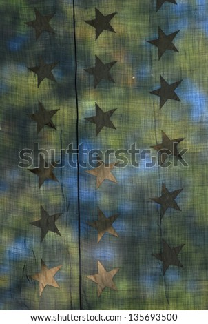 Stars on vintage flag - stock photo