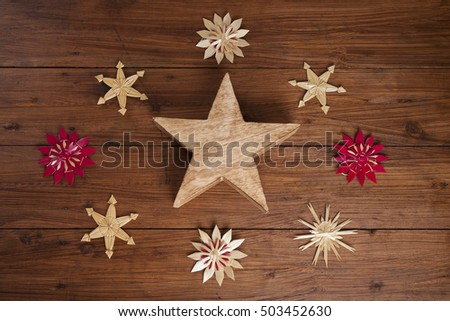Stars on wodden background