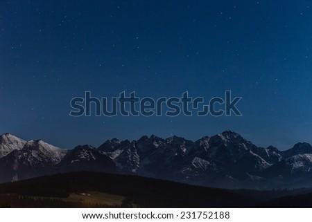 Stars overt Tatra mountains - stock photo