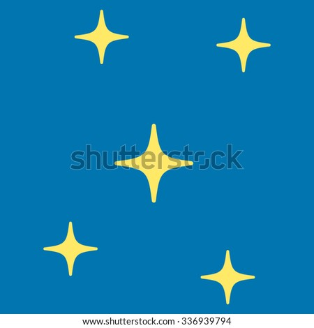 Stars raster icon. Style is flat yellow symbol, rounded angles, blue background.