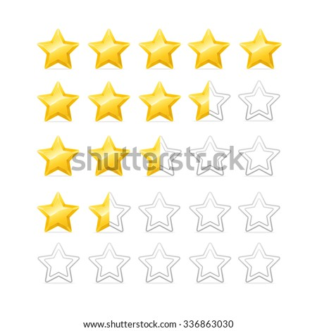 Stars Rating. Bright and Shiny. illustration - stock photo