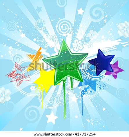 stars: red, yellow, orange, green, blue and purple, carelessly painted different colors: gel, watercolor, pastel, radiant in a blue background.