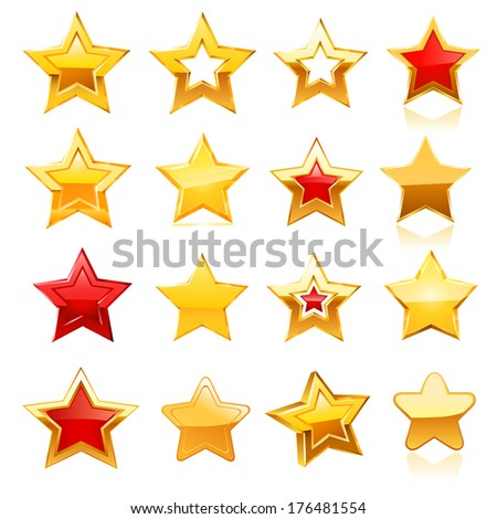 Stars set. raster copy. - stock photo
