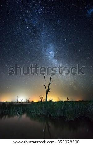 Stars shine over Lake Bonney in South Australia - stock photo