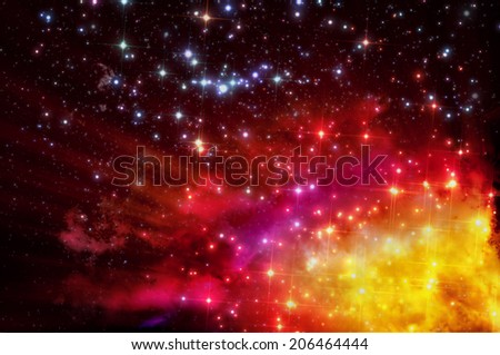 stars shine through the clouds of a old nebula - stock photo