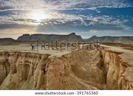 Stars Valley. Mountain range at Qeshm Island, Iran - stock photo