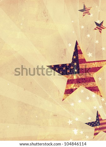 stars with USA flag and rays over old paper background - stock photo