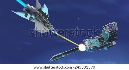 Starship Fight - A battle ensues as a fighter spacecraft blasts a large enemy battleship with a laser beam. - stock photo