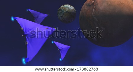 Starship Travel - Three spaceships fly through space to investigate an alien planet and its moon. - stock photo