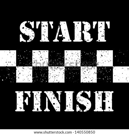 Start and Finish Line on Grunge - stock photo