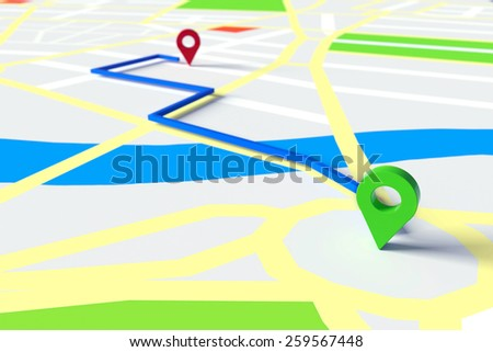 Start and goal of GPS navigation through city streets on a map (3D Rendering) - stock photo
