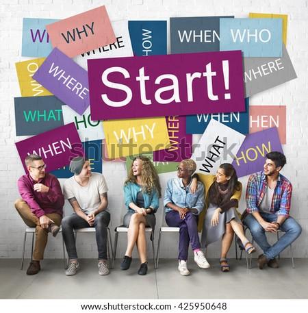 Start Beginning Startup Launch Forward Motivation Concept - stock photo