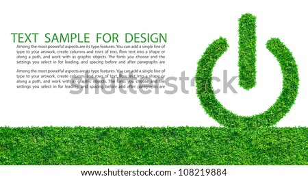Start button from grass background, isolated on white - stock photo