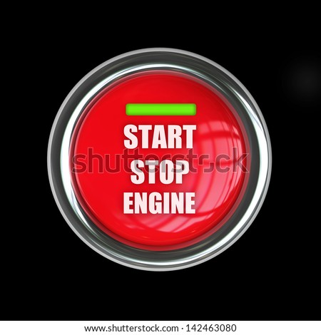 start button isolated on black background. High resolution 3d render image - stock photo