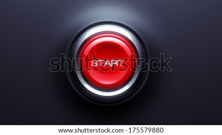 Start Button isolated on dark background - stock photo