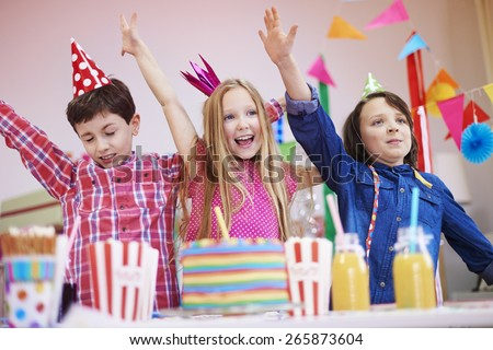 Start dancing on the birthday party - stock photo