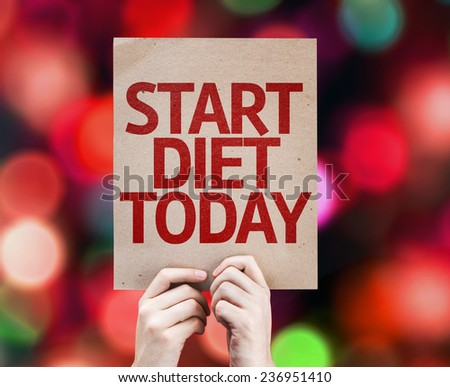 Start Diet Today card with colorful background with defocused lights - stock photo