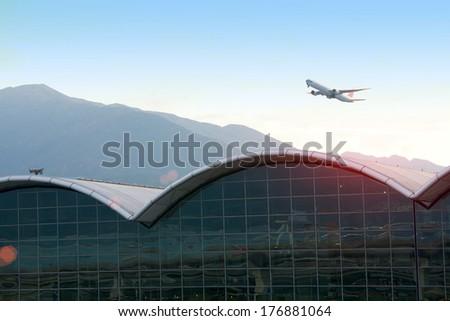 start flight the cargo aircraft at the Hong Kong airport - stock photo