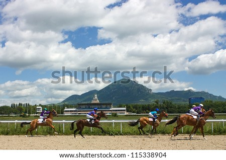 Start gates for horse races for the prize of Otkritia,Northern Caucasus.