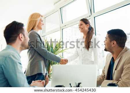 Successful business people sitting in the office. Partnership Stock Images  Royalty Free Images   Vectors   Shutterstock