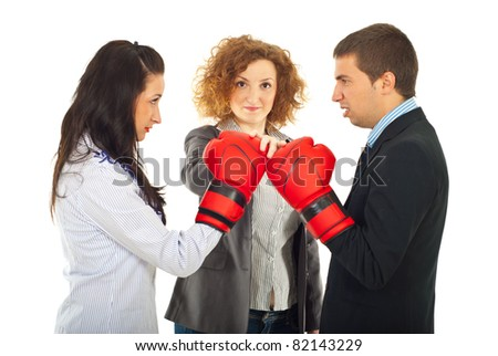 Start of furious business people competition fight  against white background - stock photo