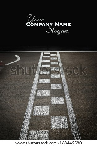 Start or finish line on kart race - stock photo