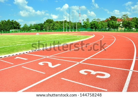 Start point in running track.