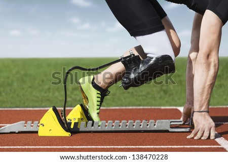 Start position  of athlete with handicap - stock photo
