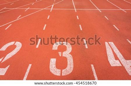 Start running track in stadium or sport park. - stock photo