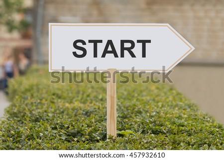 start signpost - stock photo