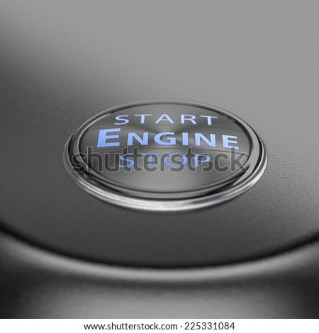 Start stop engine button with blur effect. Render image for business and motivation concepts. - stock photo
