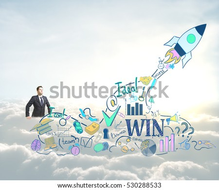 Start up concept. Businessman with creative rocket ship sketch on sky background