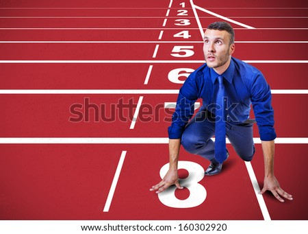 start up man on track for challenge of the company - stock photo