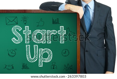 Start Up on blackboard presenting by businessman