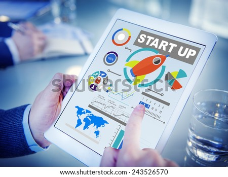 Start up Planning Innovation Digital Devices Working Concept - stock photo