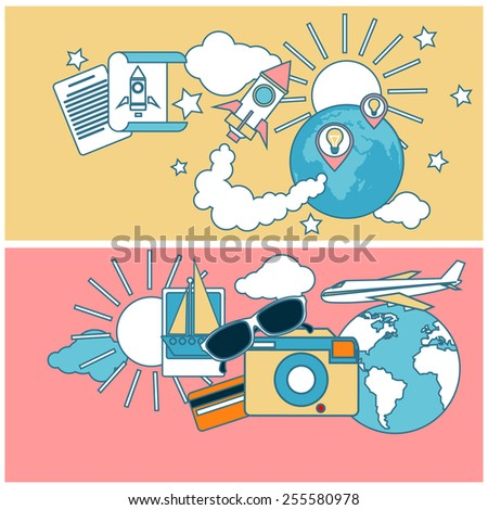 Start up rocket idea. New business project start up, launching new product or service in flat design. International business travel by airplane. Tourist icons around the planet. Raster version - stock photo