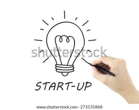 start-up word written by man's hand on white background