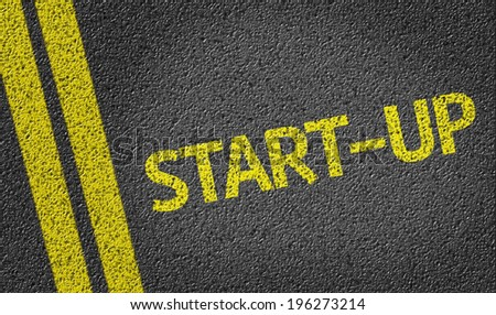 Start-Up written on the road - stock photo