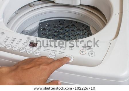 start washing machine - stock photo