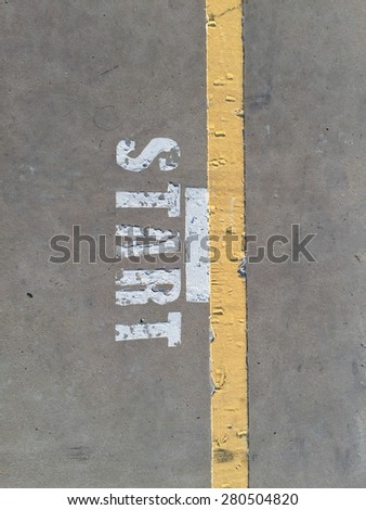 Start with yellow line. - stock photo