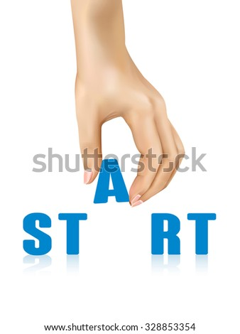 start word taken away by hand over white background - stock photo
