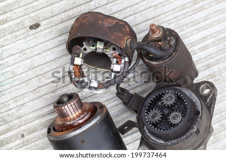 Starter car exploded.repair of engine parts - stock photo