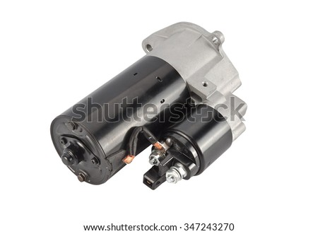 Starter for a car with solenoid isolated on white background - stock photo