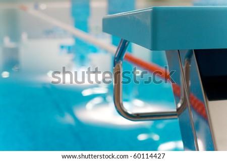 Starting Block  in Swimming Pool - stock photo