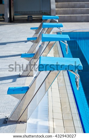 Olympic swimming pool stock images royalty free images vectors shutterstock - Olympic swimming starting blocks ...