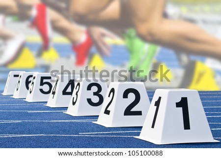 starting cubes with start scene in the background - stock photo