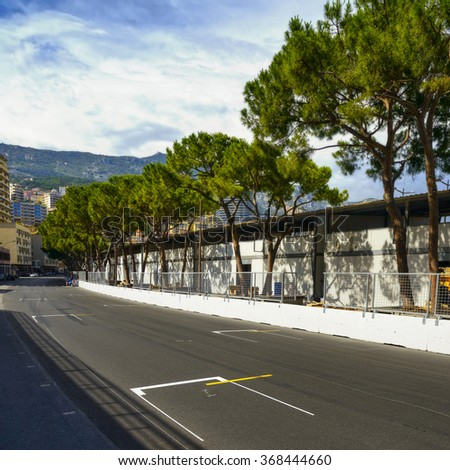 Starting grid asphalt on Monaco Montecarlo race Grand Prix street circuit - stock photo
